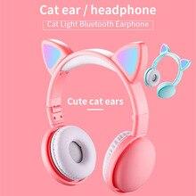 Mignon LED chat oreille bruit annulation casque Bluetooth 5.0 pliable Gamer musique casque avec Microphones pour enfants fille cadeaux
