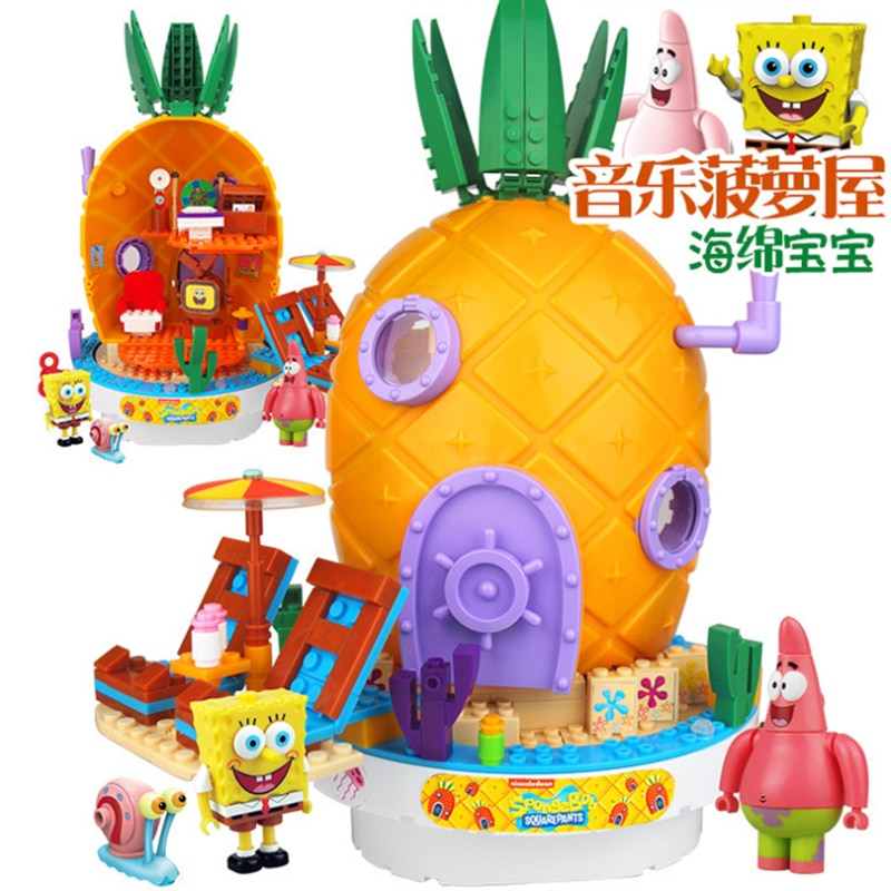 New Leepining SpongeBob Music Toys Pineapple House Friends Krabby Patty Patrick Squidward Building Blocks Toys For Children