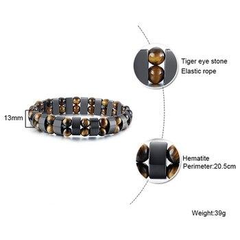 Double Hematite Tiger's Eye Bracelets Men Tiger Eye & Hematite Charm Bracelets for Women Natural Energy Stone Bracelet Jewelry 2