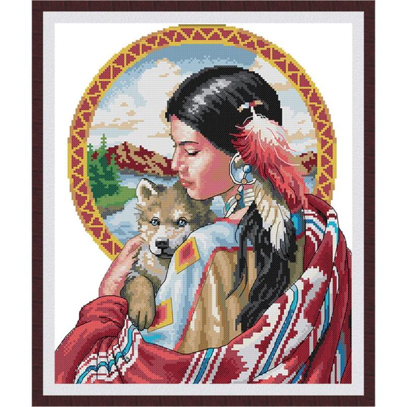 JBeautiful Indian Girl Canvas Print Cross Stitch Kit, DMC Count Chinese Cross Stitch Kit, 14ct 11ct Embroidery Kit, Needlework-0