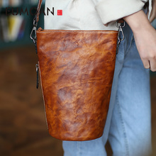 EUMOAN Vintage art and Mori bucket top layer leather casual simple Messenger ba