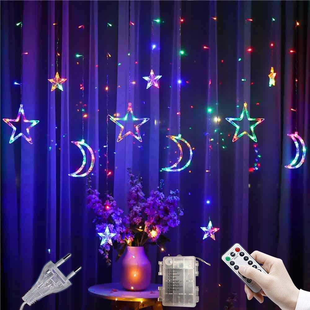 LED Star String Light LEDs Moon Star Curtain Lamp 3.5M For Room Fairy Lighting Christmas Wedding Decorative Fairy Lights 220V