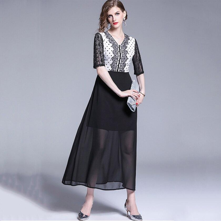 2020 été femmes Streetwear demi manches en mousseline de soie dentelle épissé points robes mode col en v a-ligne robe Midi femme vêtements Y125