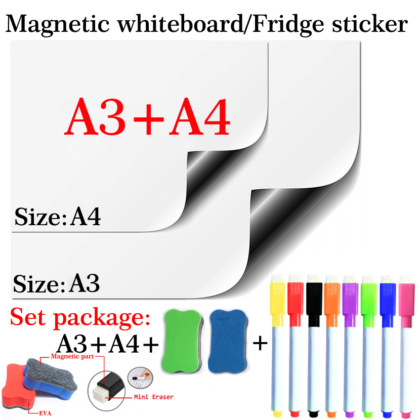 Soft Magnetic Whiteboard Dry Erase  White Board Flexible Magnet Fridge Sticker School Home Office Kitchen Message Board Marker