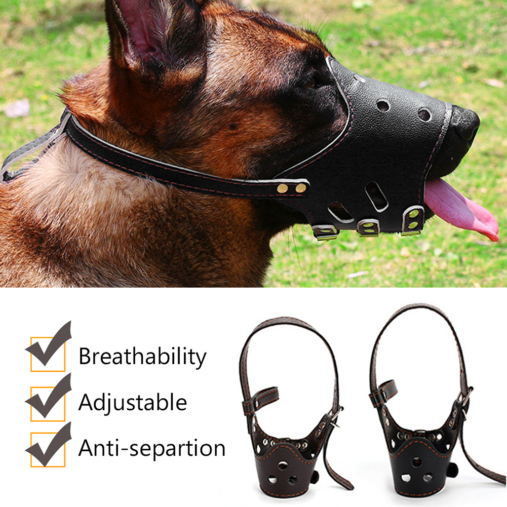 Pet Dog Adjustable Mask Anti Bark Bite Mesh Soft Mouth Muzzle Grooming GIFT