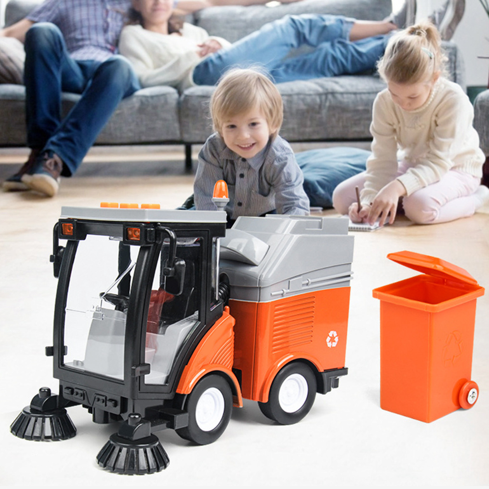 2020 New Simulation Road Sweeper Car Toy Garbage Truck Sanitation Disposal Streetcar Model Light Music Pull-back Vehicle Toy