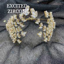 Комплект из модных женских золотые полые цветок циркон повязка