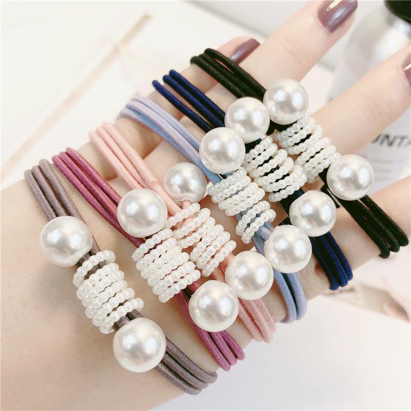 Fresh Lady Hair Rope Bow High Elastic Rubber Band Cute Pearl Hair Band Hair Accessories Headdress