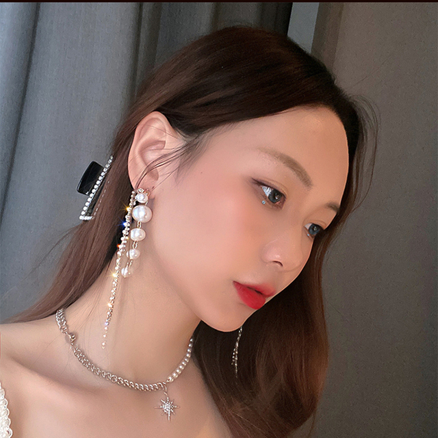 Long Dangle Earrings for Women Fashion Full Crystal Simulated Pearl Tassel Drop Earring Vintage Gold Brincos Jewelry 4
