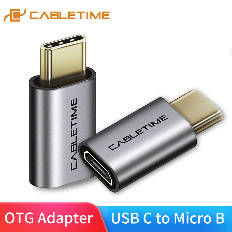 CABLETIME USB Type C To Micro B F Adapter Type C Converter Charging Data Sync Adapter For Mobile Phones Laptops Tablets C005