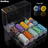 100/200 peças conjunto de microplaquetas de poker com caixa 14g argila/cerâmica conjunto texas holdem em fichas poker casino moedas