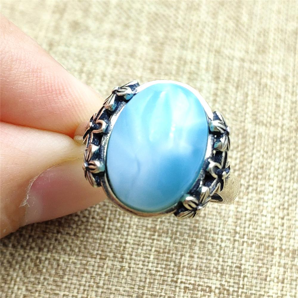 Natural Blue Larimar Water Pattern Gemstone Pendant Cabochon From Dominica For Women Man Water Drop Best 16x13x6mm AAAAA