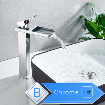 Rozin Waterfall Bathroom Sink Faucet Deck Mount Hot Cold Water Basin Mixer Taps Polished Chrome Lavatory Sink Tap 10