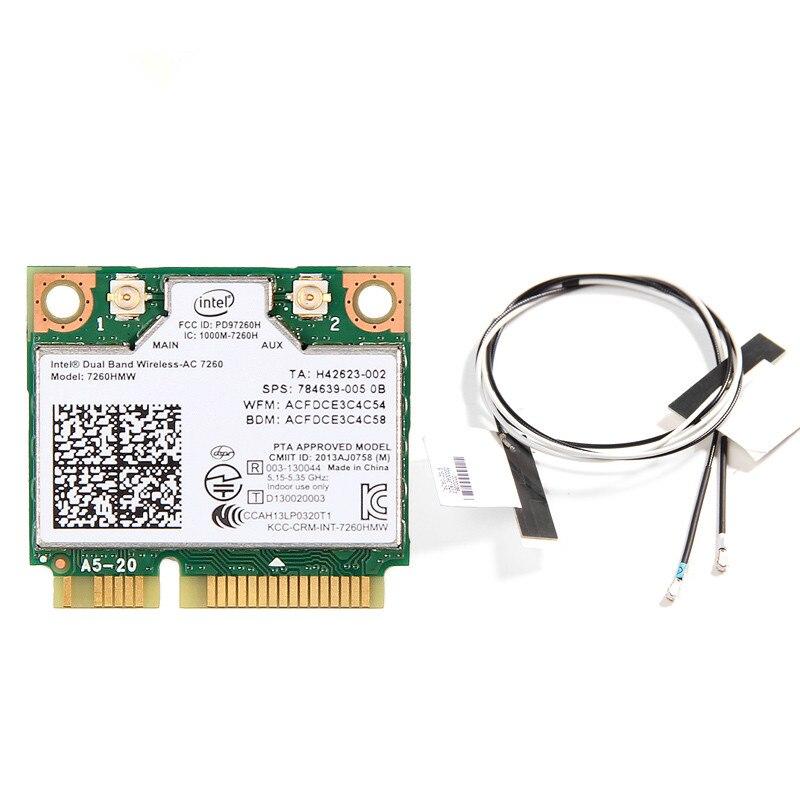 Dual Band 1200Mbps 802.11ac Intel 7260HMW 7260AC  2.4G/5Ghz Wlan Wi-Fi Bluetooth 4.0 Mini PCIe WiFi Wireless Network PCIe Card