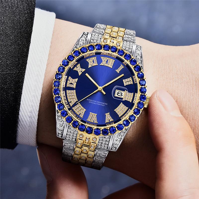 Man Watch Hip Hop Diamond Watchs Mens Fashion Colorful Watch Iced Out Quartz Watch Relogio Masculino Free Shipping Dropshipping