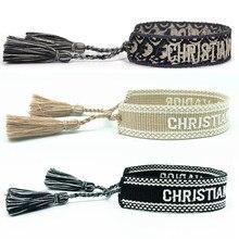 Jóias artesanal assinatura bordado cor pulseira de algodão masculino tecido borla ajustável pulseira amante presente