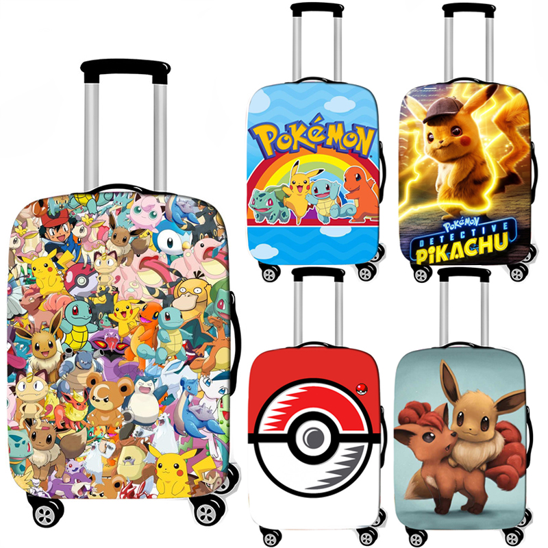 Cartoon Pokemon Pikachu /  Bulbasaur / EEVEE Luggage Cover For Travel Bag Elastic Trolley Case Cover Baggage Suitcase Covers