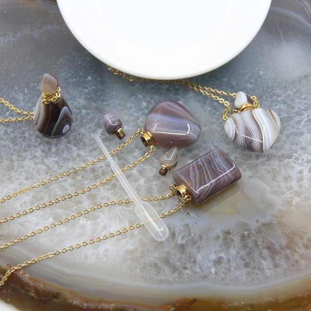 Bostwana Agates botellas colgantes de Perfume plateadas collares de oro gemas de gatas con encaje Natural