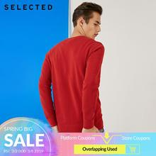 SELECTED 100% Cotton Round Neckline Sweater Mens Long sleeved Pullover Knit Clothes S