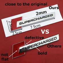 Czerwone czarne diamentowe klocki odznaka Bar tekst godło dla Audi SUPERCHARGED A4 A5 A6L Q3 Q5 Q7 Car Styling Trunk Fender naklejka z logo tanie tanio W12 emblem for Audi 2 5cm Emblematy top quality ABS 0 2cm 10cm Emblems chrome silver