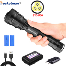 7500 lumens XLamp 3*XHP50 most powerful led flashlight usb Zoom torch xhp70.2 xhp50 18650 or 26650 Rechargeable battery hunting