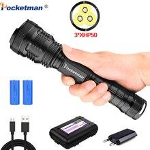 XLamp 3 x XHP50 torche de puissance 7500 usb, Zoom lampe de poche led, xhp70.2, xhp50, batteries rechargeables 18650 ou 26650, pour la chasse