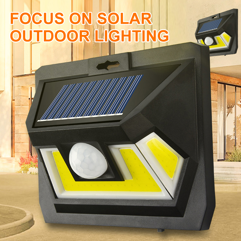 COB 태양 정원 빛 옥외 LED 스포트라이트 투광 램프 방수 벽 램프 PIR 운동 측정기 정원 훈장을위한 태양 빛