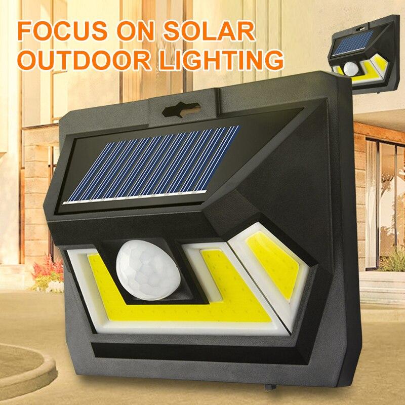 Luz Solar COB para jardín, proyector LED para exteriores, lámpara de pared impermeable, Sensor de movimiento PIR, luz Solar para decoración de jardín