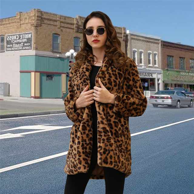 Leopard Coats 2019 New Women Faux Fur Coat Luxury Winter Warm Plush Jacket Fashion artificial fur Women's outwear High Quality