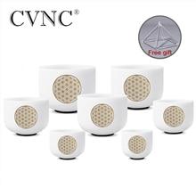 CVNC 8  14 סט של 7pcs הערה CDEFGAB צ אקרה חלבית קוורץ קריסטל קערת שירה למדיטציה