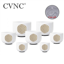 CVNC 8 14 set of 7pcs Note CDEFGAB Chakra Frosted Quartz Crystal Singing Bowl for Meditation