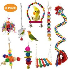 8PCS Parrot toys Birds  Toys Swing Bird Chewing Toys Birds Cage Toys funkadelic funkadelic toys