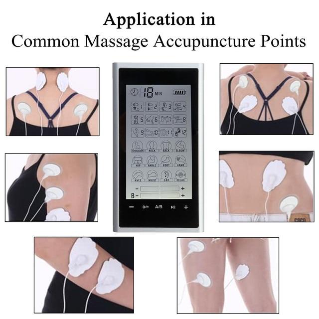 Thérapie musculaire soulagement de la douleur dix unités 24 Modes-Massage électrique Stimulation réglable léger écran LCD argent gris Compact
