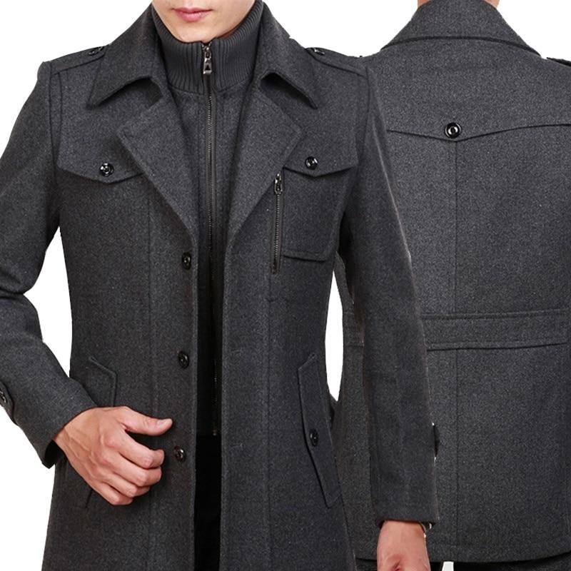 Winter Trench Coat for Men Fashion Mens Jackets Woolen Men's Jacket Double Collar Warm Woolen Coat Giubbotti mens cashmere