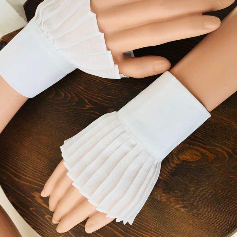 Korean Retro Wrinkled Pleated False Flare Sleeve Solid Color Sweater Decorative Detachable False Cuffs Clothing Accessory