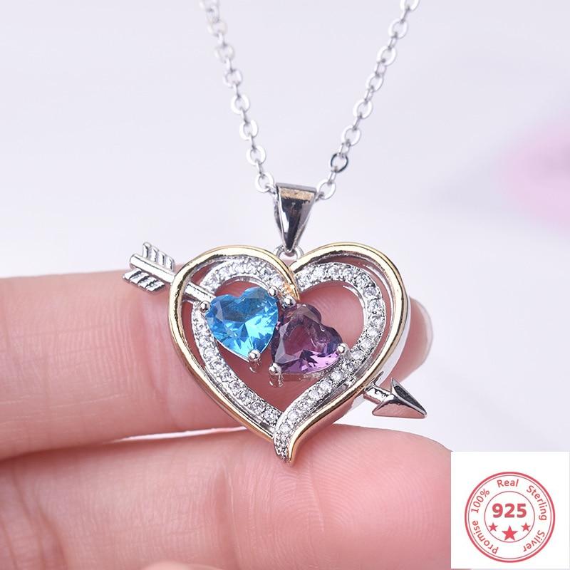 925 Sterling Silver Color Necklace Heart Diamond Pendant For Women Wedding Bizuteria Gemstone Topaz Pierscionki 925 Pendants