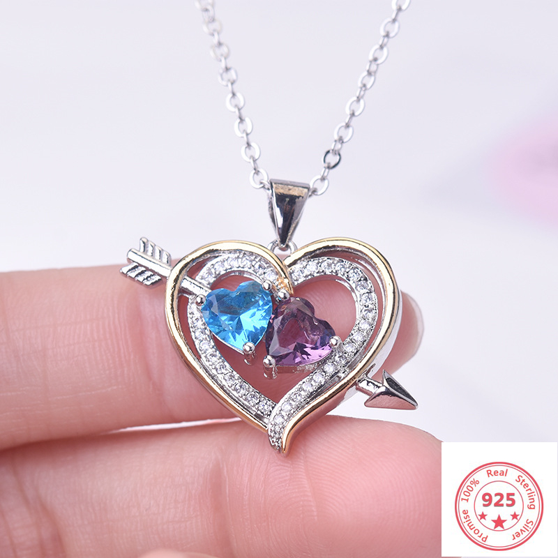 925 Sterling Sliver Necklace Heart Diamond Pendant For Women Fashion Wedding Bizuteria Gemstone Topaz Pierscionki 925 Pendants