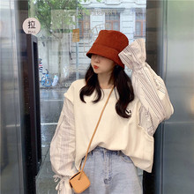 Autumn 2019 Sanitary Wardrobe New Alphabet Printed Stitching Stripe Sleeve Flare Sweatshirt Women