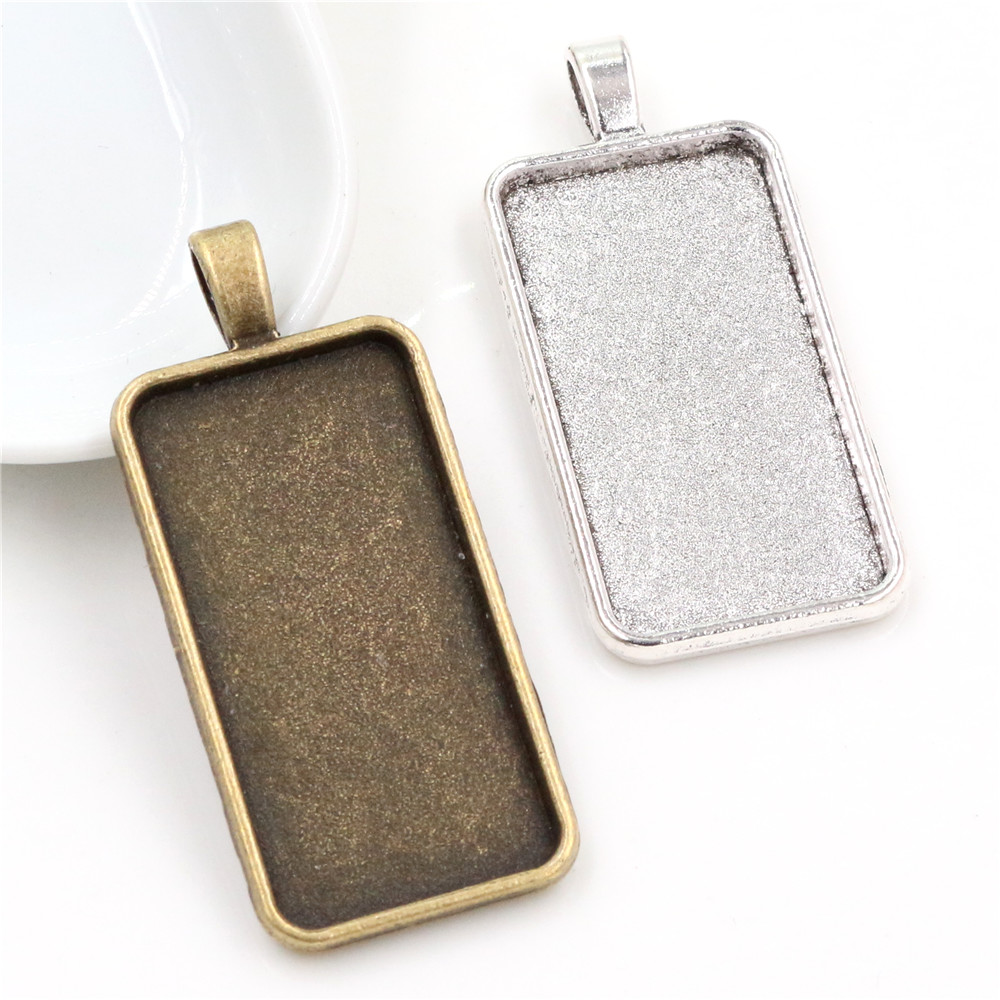 New Fashion 5pcs 19x38mm Inner Size 2 Colors Rectangle Cabochon Base Setting Charms Pendant,Fit  19*38mm Square Glass Cabochons