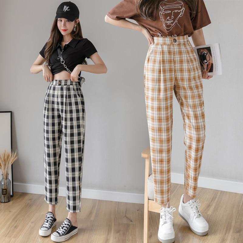 Women Plaid Pants 2020 Spring New High Waist Vintage Plaid Harem Pants Casual Female Pantolone Ankle-length Female Trousers