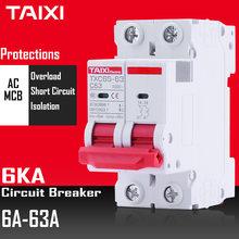 Автоматический выключатель CE CB MCB TX C65 6KA, главный выключатель 2P 10A 16A 25A 32A AC 220 В 230 в 240 В, мини-защита цепи TAIXI