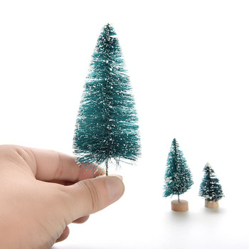 Mini Sisal Bottle Brush Christmas Tree Santa Snow Frost Village House Small DIY Stick White Cedar Christmas Tree Fake Pine Tree image