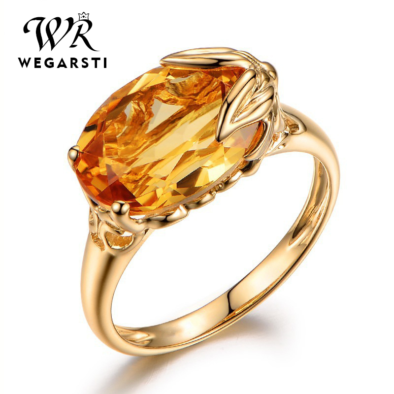 WEGARASTI Silver 925 Jewelry Ring For Women Oval Shape Topaz Citrine Gemstone Ring Party Female Silver Ring Fine Jewely