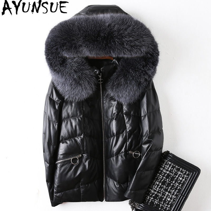 AYUNSUE Genuine Leather Jacket Winter Jacket Women Fox Fur Collar Down Jackets For Women Real Sheepskin Coat Chaqueta Mujer MY