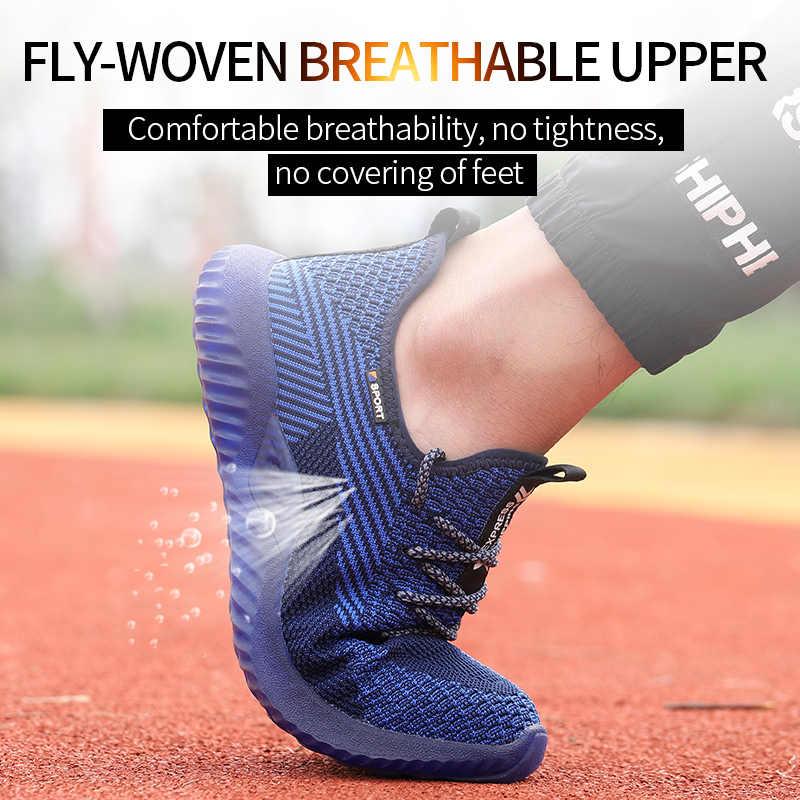 SUADEEX erkekler çelik ayak emniyet iş ayakkabısı nefes hafif rahat endüstriyel inşaat ayakkabıları delinme geçirmez nemli yerleşimler