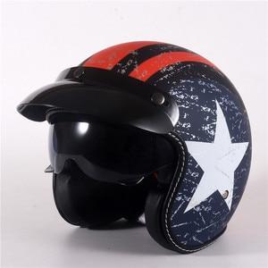 Image 3 - Vạn Lịch Mở Mặt Moto Rcycle Mũ Bảo Hiểm Lật Lên Tấm Che Vintage Retro Moto 3/4 Nón Bảo Hiểm Nửa Năm 818 XS Đến XL 53 Cm 61 Cm