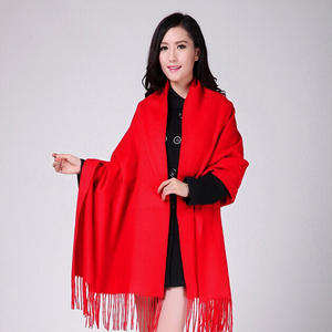 Image 4 - White 4Ply 100% Wool Solid Color Womens Autumn Winter New Fashion Thick Tassel Shawl Scarf Wrap Warm 19 Colors 200*70cm 011502