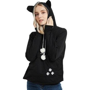 Hooded Cat Dog Pet Casual Unisex Kangaroo Coat Hoodies Sweatershirts Women Kangaroo Cat Casual Animal Ear Hoodie Sweatershirts bow back two tone cat ear hoodie