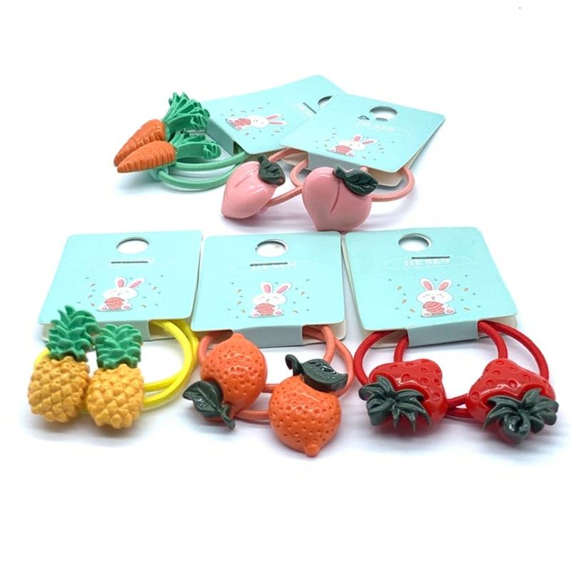 Cartoon Vegetables Fruits Elastic Hair Bands Baby Headwear Girls Hair Accessories Tie Hair Ropes Children Headdress Cute Gift