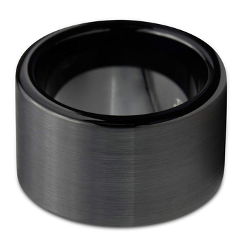 12mm Black Brushed Tungsten Carbide  with Flat Band Matte Surface  2